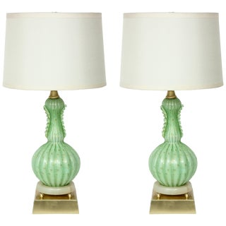 1950s Barovier Pale Green Murano Glass Lamps - a Pair For Sale