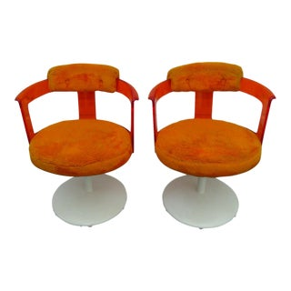 Tulip Base Orange Lucite Pair of Shag Swivel Chairs by Daystrom Furniture For Sale