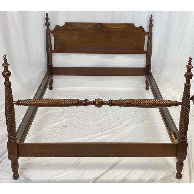 English Mid 20th Century Mahogany Statton Trutype Full Four Poster Bedframe For Sale - Image 3 of 12