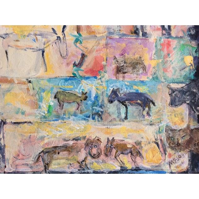 "Rosalyn Mesquita ""Animals"" Mixed Media Painting - Image 2 of 2"