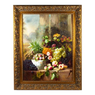 Floral Bouquet Still Life Wood Framed Oil Painting For Sale