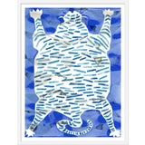 """Image of Medium """"Tiger Rug Blue"""" Print by Kate Roebuck, 27"""" X 35"""" For Sale"""