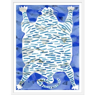 "Medium ""Tiger Rug Blue"" Print by Kate Roebuck, 27"" X 35"""