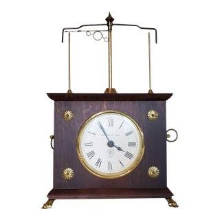 Vintage Jerome & Co. Horolovar Flying Pendulum Mahogany Novelty Clock For Sale