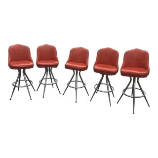 Mid-Century Swivel Bar Stools - Set of 5