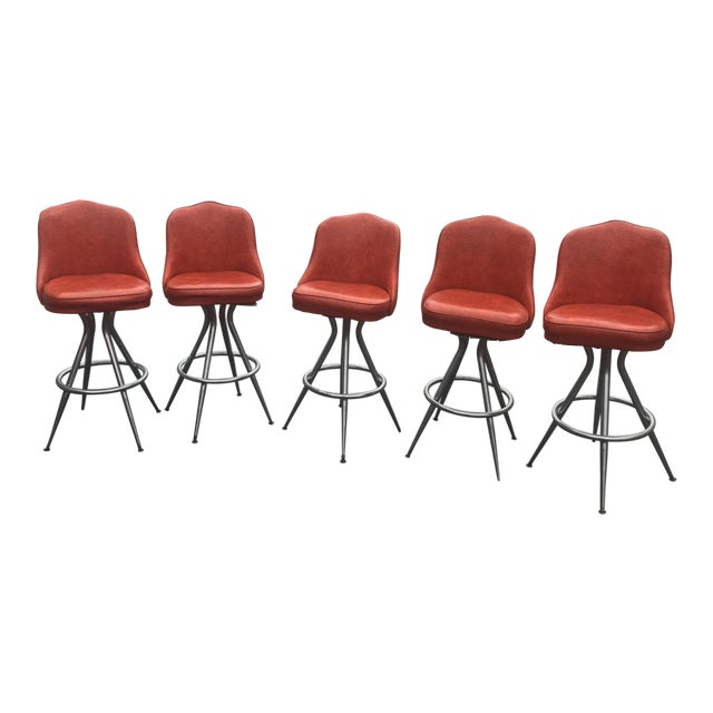 Mid-Century Swivel Bar Stools - Set of 5 For Sale
