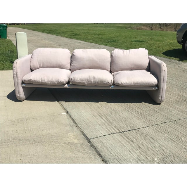 1980s Vintage Milo Baughman Style Tubular Chrome Sling Three-Seater Sofa For Sale - Image 9 of 11