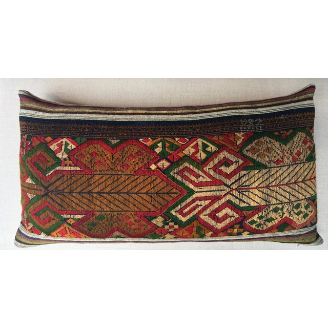 Asian Vintage Handwoven Embroidered Pillows Northern Laos - A Pair For Sale - Image 3 of 9