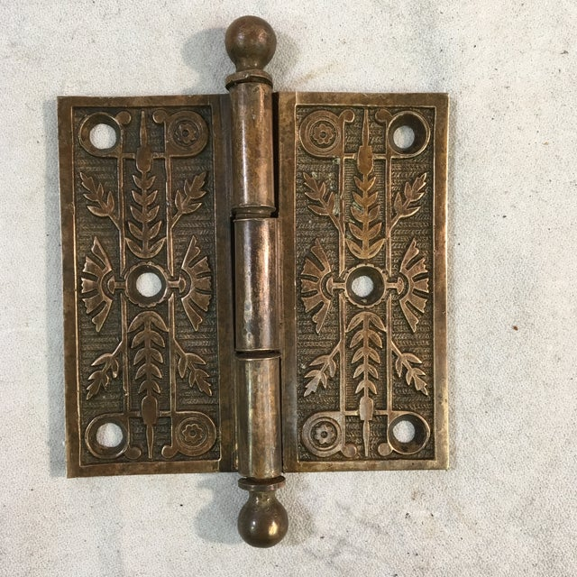 Late 19th Century Antique Victorian Eastlake Brass Door Hinge For Sale - Image 5 of 11
