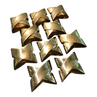 1980s Contemporary Brass Napkin Rings - Set of 10