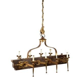 Late 20th Century French Galley Style 8 Light Wood and Bronze Chandelier For Sale