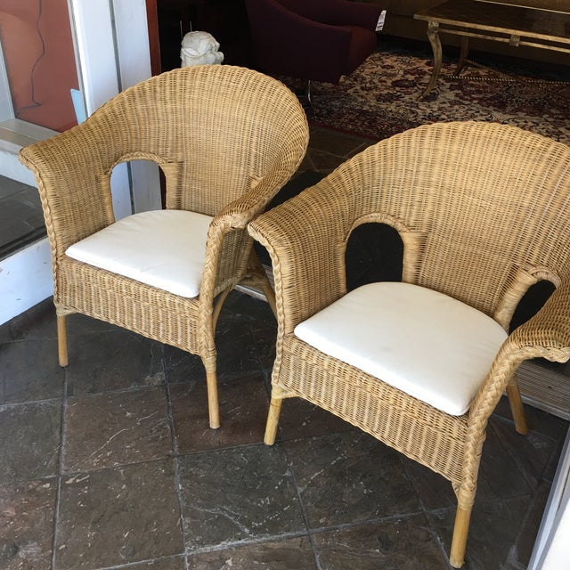 Stackable Wicker Arm Chairs & White Cushions - A Pair - Image 4 of 11
