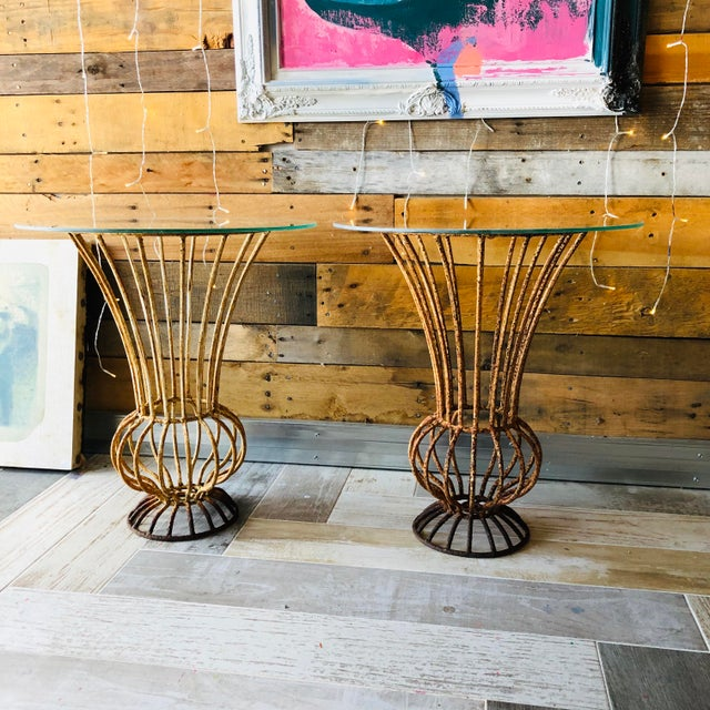 Mid-Century Wrought Iron End Tables - A Pair For Sale - Image 9 of 9
