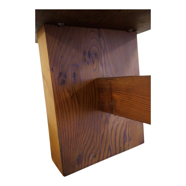 Mid 20th Century Modern Handmade Redwood Russian River Bench For Sale - Image 5 of 6
