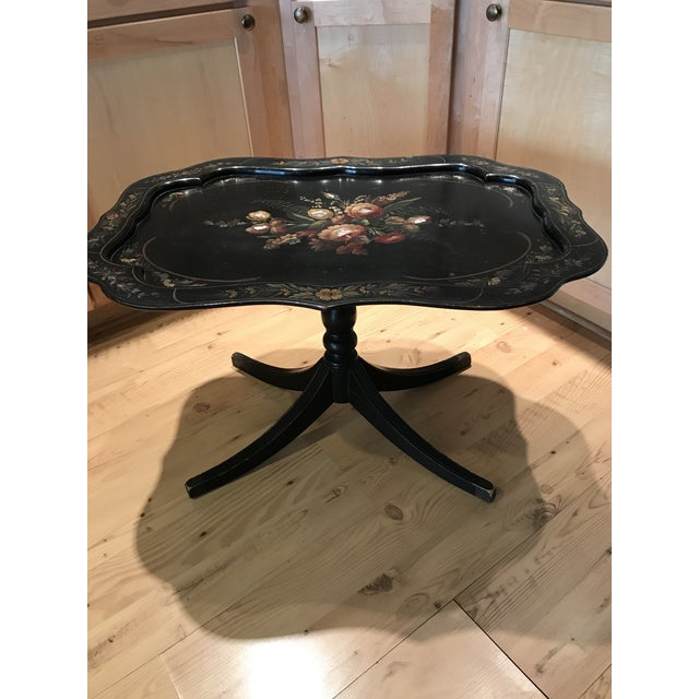 Black 1960s Victorian Tole Tilt Top Table With Inlaid Mother of Pearl For Sale - Image 8 of 9