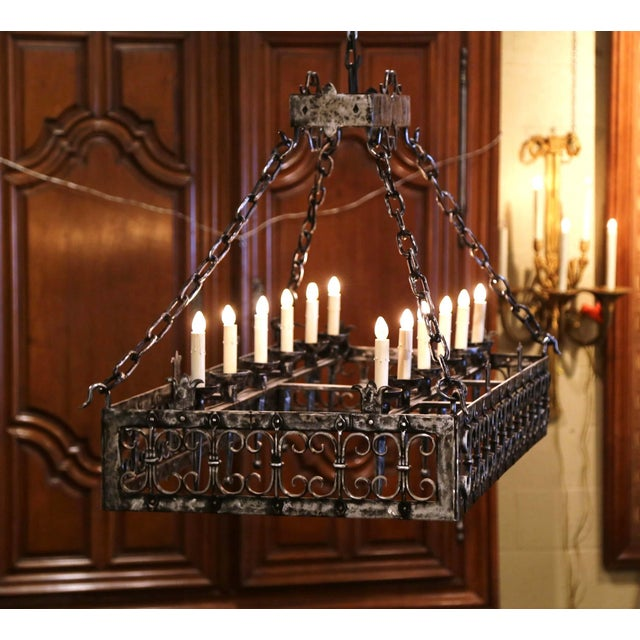 Late 19th Century 19th Century French Gothic Forged Polished Iron Ten-Light Island Chandelier For Sale - Image 5 of 13