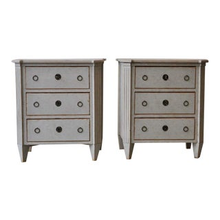 19th Century Swedish Gustavian Style Painted Bedside Chests - a Pair For Sale
