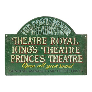 Vintage English Painted Wood Theatre Sign