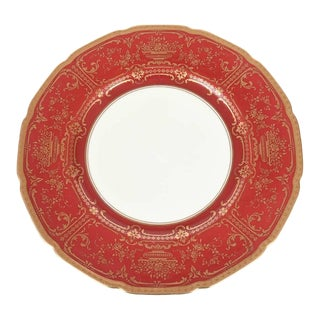 12 Antique Dinner Plates, Red and Gold by Royal Doulton, England For Sale