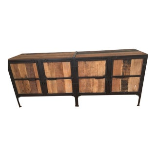 Reclaimed Wood and Metal Sideboard For Sale