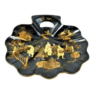 1930s Chinese Chinoiseries Black & Gold Papier Mache Crumb Tray For Sale