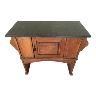 Antique Oak Dry Sink With Removable Marble Top, Circa 1890 For Sale