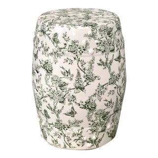 Vintage Green and White Garden Stool For Sale