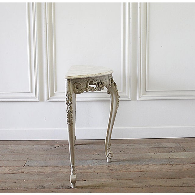 French 20th Century French Carved Console Table With Marble Top For Sale - Image 3 of 13
