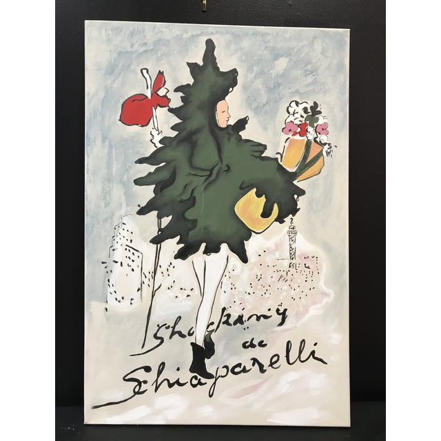 Canvas Schiaparelli Shocking Pafum Perfume Advertising Recrafted Redesigned Painting Attributed Marccel Vertes For Sale - Image 7 of 7