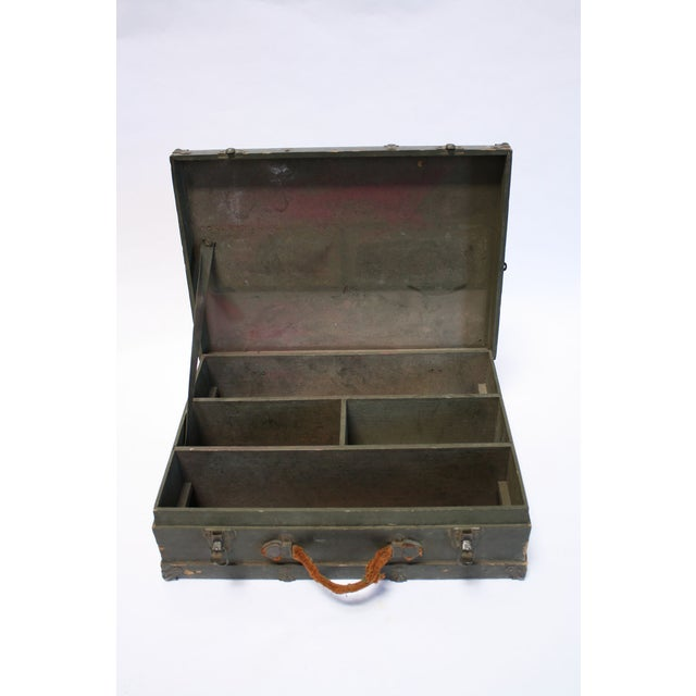 Vintage Army Green Radio Box Leather Handle - Image 7 of 7