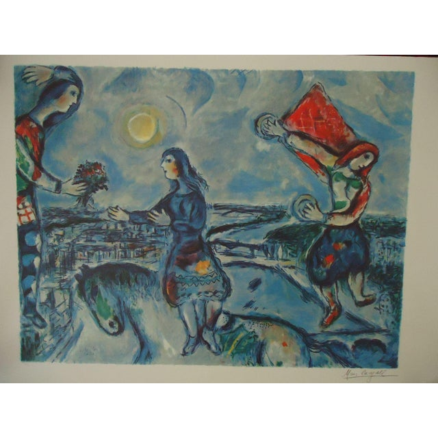 """Blue Vintage Marc Chagall Reproduction """"Lovers Over Paris"""" Print For Sale - Image 8 of 11"""