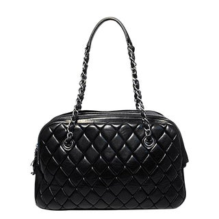Chanel Black Quilted Medium Shopper Tote Shoulder Bag For Sale