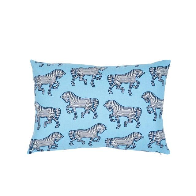 Schumacher Faubourg Lumbar Pillow in Blue For Sale
