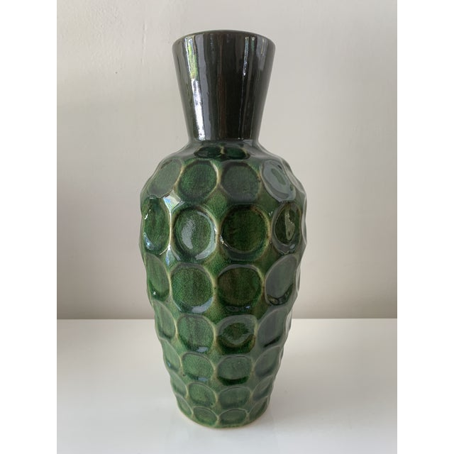 Ceramic Vintage Mid Century Green Honeycomb Vase For Sale - Image 7 of 7