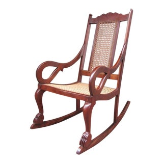 Early 19th Century Caribbean Regency Mahogany and Cane Rocking Chair For Sale