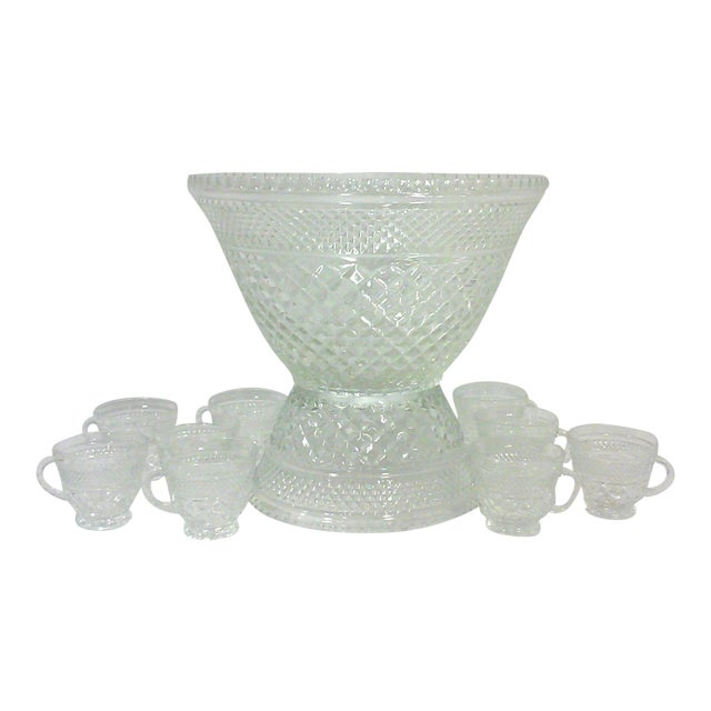 Pedestal Glass Serving Bowl and Cups - Set of 10 - Image 1 of 5