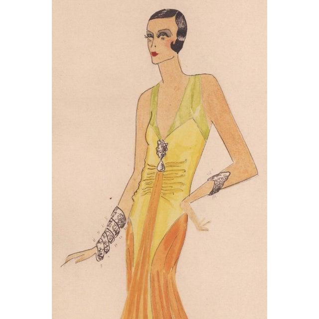 Original Art Deco Fashion Drawing - Image 3 of 4