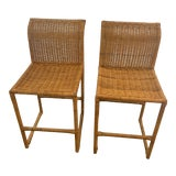 Image of Mid Century Modern Costal Boho Chic Wicker Bar Stools - a Pair For Sale