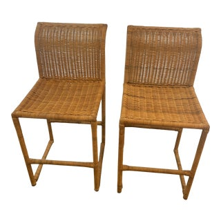 Mid Century Modern Costal Boho Chic Wicker Bar Stools - a Pair For Sale