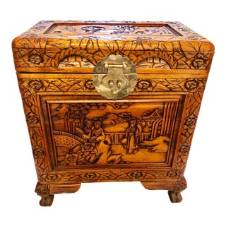 Chinese Carved Camphor Wood Chest For Sale