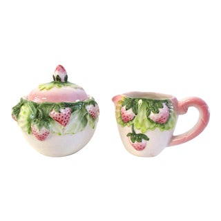 1980s French Country Pink Strawberry Creamer & Sugar - 2 Pieces For Sale