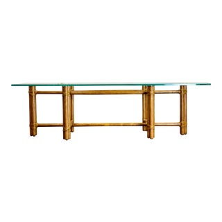 1980s McGuire Bamboo and Brass Rectangular Coffee Table For Sale
