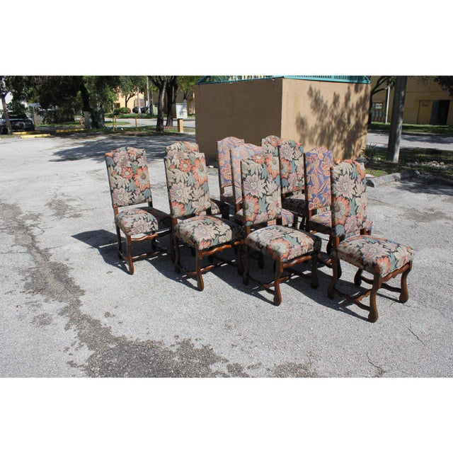 Fine set of 10 Louis XIII style Os de Mouton dining chairs with chapeau de gendarme backs, circa 20th century. Vintage...