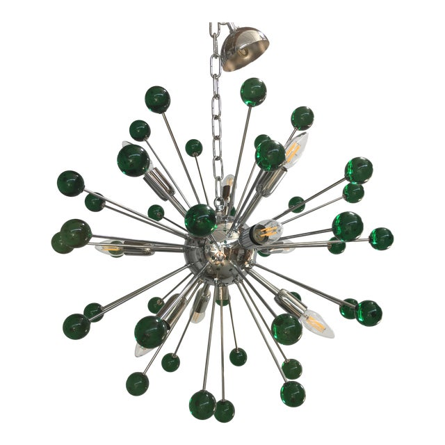Emerald Green Murano Glass Chandelier in Sputnik Style With a Chrome Base For Sale