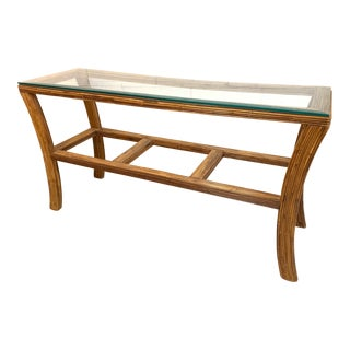 Split Reed Rattan Console Table For Sale