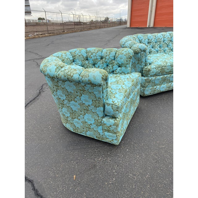 One of a kind Vintage Chesterfield Arm Chair in electric blue and green floral upholstery. Sofa sold separately.