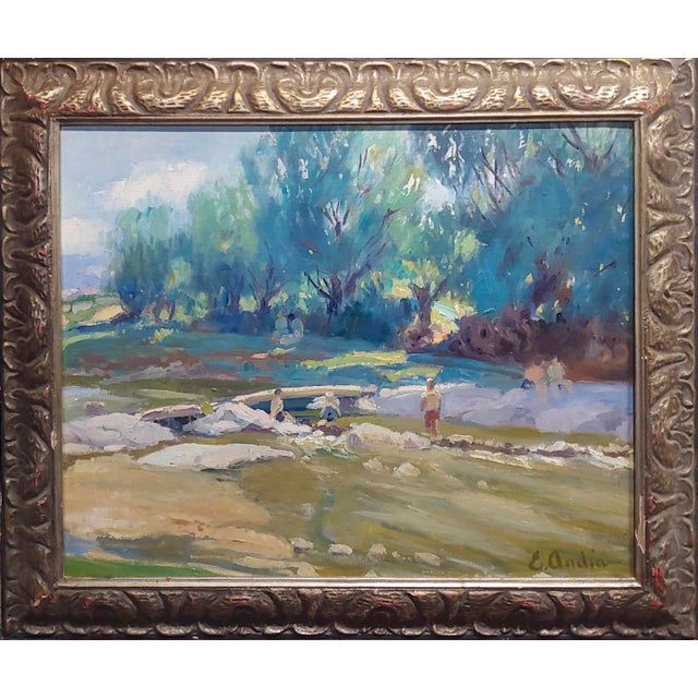 Summer at the River-California Impressionist Oil painting-E. Andia oil painting on board -Signed circa 1960s frame size 25...