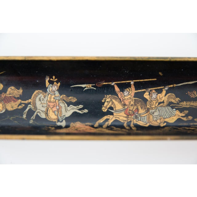 A superb antique English papier mache pen tray with an Asian chinoiserie design. It is hand made depicting a hand painted...