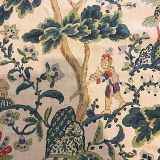 Scalamandre Kelmscott Hand Block Linen Peacock on Sand Fabric - 5 Yards For Sale