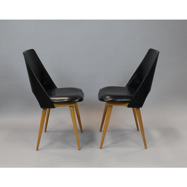 Mid-Century Vinyl Noir Side Chairs - a Pair - Image 3 of 6